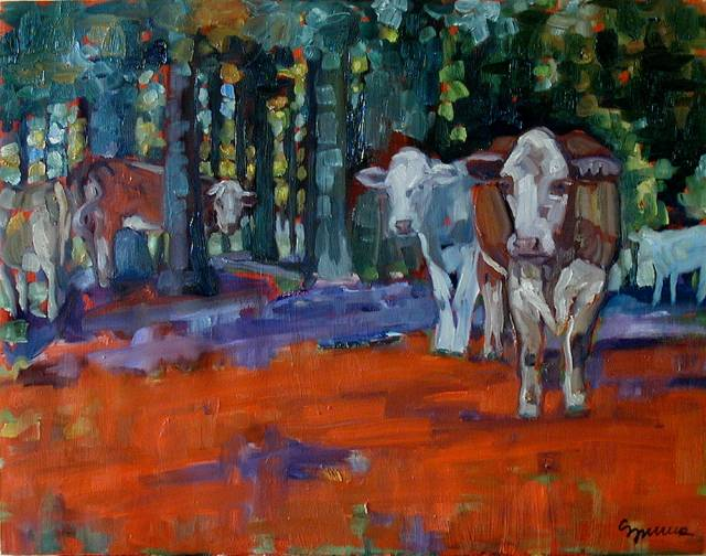 COWS IN THE WOODS